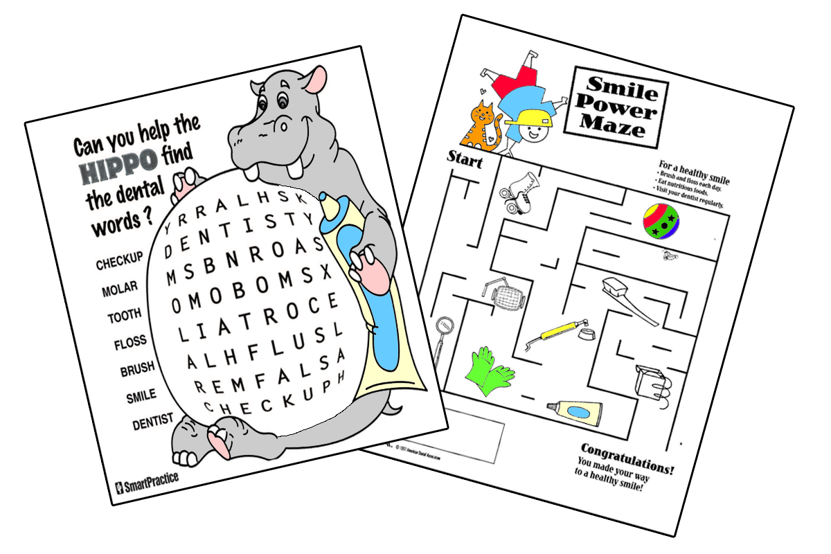 Colouring in pages dental - Activity Sheets Dental Crossword Puzzle